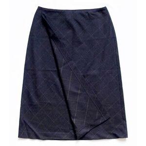 "NEW Pinstripe Checks Wool Wrap Skirt 26"" x 25.5"""
